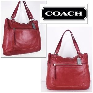 Coach XL Poppy Leather Rose Glam Tote Shoulder Bag
